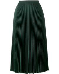 Jupe mi-longue plissée vert foncé Prada
