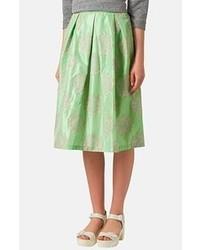 Jupe mi-longue plissée verte