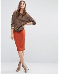 Jupe mi-longue rouge Glamorous