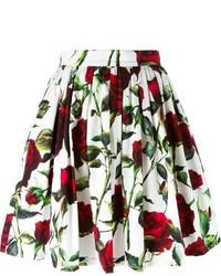 Jupe patineuse à fleurs blanche Dolce & Gabbana