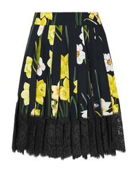 Jupe patineuse à fleurs noire Dolce & Gabbana