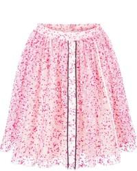 Jupe patineuse à fleurs rose Fendi