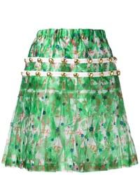 Jupe patineuse à fleurs verte Comme des Garcons