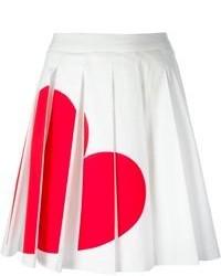 Jupe patineuse imprimée blanc et rouge Love Moschino