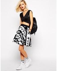 Jupe patineuse imprimée blanche et noire adidas