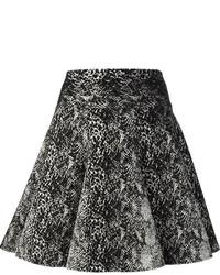 Jupe patineuse imprimée noire et blanche Lanvin