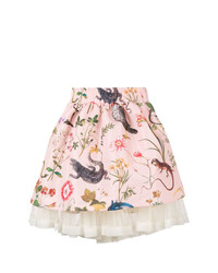 Jupe patineuse imprimée rose RED Valentino