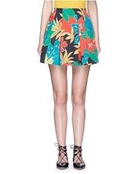 Jupe trapèze à fleurs multicolore