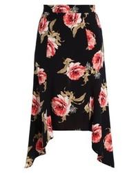 Jupe trapèze à fleurs noire Miss Selfridge