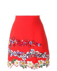 Jupe trapèze à fleurs rouge MSGM