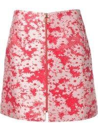 Jupe trapèze à fleurs rouge Stella McCartney