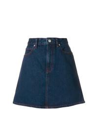 Jupe trapèze en denim bleu marine Calvin Klein Jeans