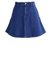 Jupe trapèze en denim bleu marine Miss Selfridge