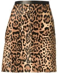 Jupe trapèze imprimée léopard marron Ralph Lauren