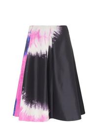 Jupe trapèze imprimée tie-dye noire Prada