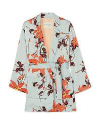 Kimono à fleurs bleu clair Etro