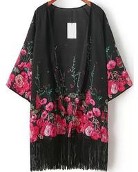 Kimono à fleurs noir