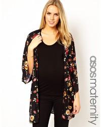 Kimono à fleurs noir Asos Maternity