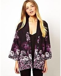 Kimono à fleurs noir Asos