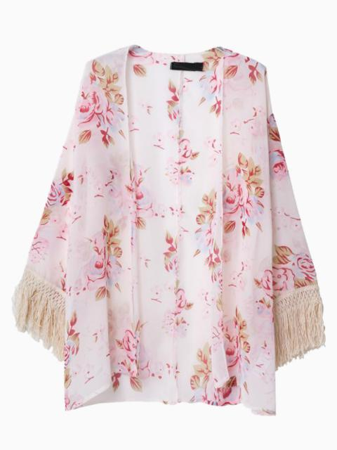 Kimono à fleurs rose Choies