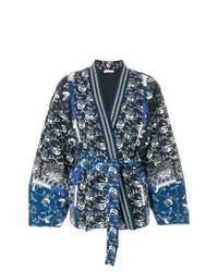 Kimono imprimé bleu marine