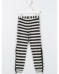 Leggings à rayures horizontales blancs et noirs