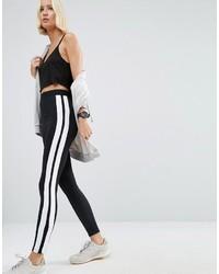 Leggings à rayures verticales noirs et blancs Asos