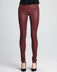 Leggings en cuir bordeaux