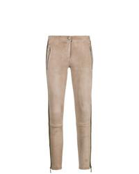 Leggings en cuir marron clair Arma