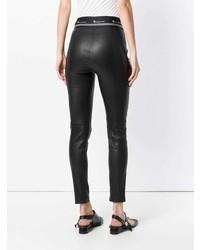 Leggings en cuir noirs T by Alexander Wang