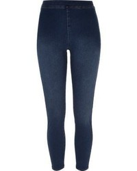 Leggings en denim bleu marine