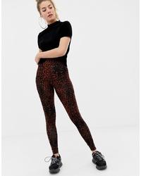 Leggings imprimés léopard marron foncé ASOS DESIGN
