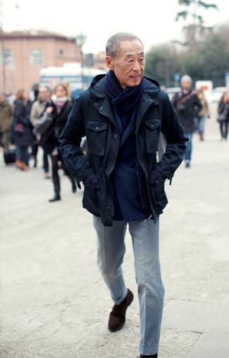 blazer croise pantalon de costume bottines chukka echarpe gants large 2777