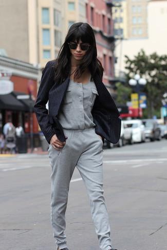 Verticales Blazer Combinaison Tenue Grise À Noir Rayures Pantalon wz6SSvqUa