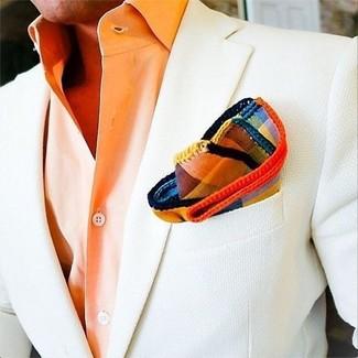 Comment porter: blazer blanc, chemise de ville orange, pochette de costume écossaise multicolore