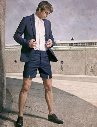 9c1337b30a3f1 Comment porter: blazer bleu marine, chemise de ville blanche, short bleu  marine,