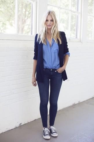 Que porter avec une veste bleu marine femme