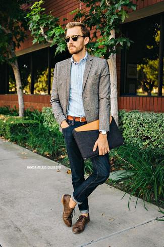 Chaussures richelieu en cuir marron foncé Henderson Baracco