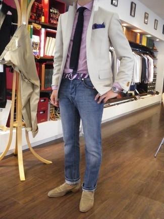 03472b9dbb6a9 Comment porter: blazer beige, chemise de ville en vichy rose, jean bleu,