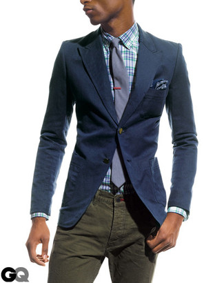 Comment porter: blazer bleu marine, chemise de ville écossaise blanc et bleu, jean olive, cravate violet clair