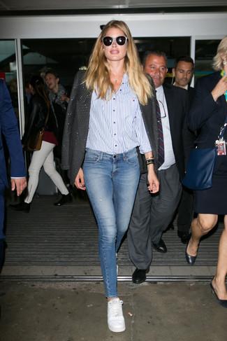 Blazer chemise de ville jean skinny large 22657
