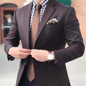 Comment porter: blazer marron foncé, chemise de ville en vichy marron, pantalon de costume bleu marine, cravate marron