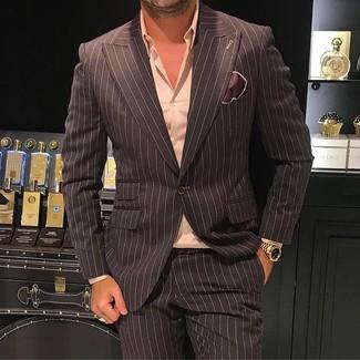 Comment porter: blazer à rayures verticales marron foncé, chemise de ville rose, pantalon de costume à rayures verticales marron foncé, pochette de costume en soie marron foncé