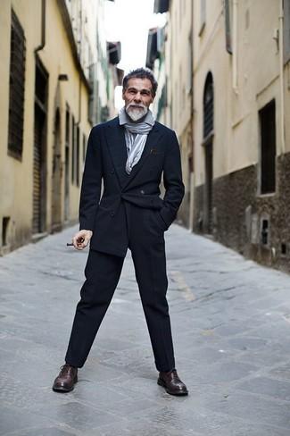 Blazer croise  pantalon de costume chaussures brogues echarpe large 6085