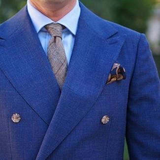 Comment porter: blazer croisé bleu, chemise de ville bleu clair, cravate écossaise grise, pochette de costume imprimée cachemire bleu marine