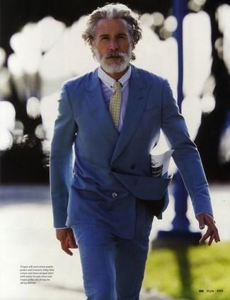 Blazer croise bleu chemise de ville bleu clair pantalon de costume bleu cravate jaune large 2176