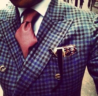 Comment porter: blazer croisé en vichy bleu marine, chemise de ville à rayures verticales blanche, cravate en soie á pois bordeaux, pochette de costume en soie á pois bordeaux