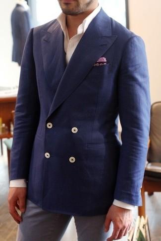 blazer homme croise bleu marine blazer croise homme double rangees de 3 boutons metal pure laine. Black Bedroom Furniture Sets. Home Design Ideas