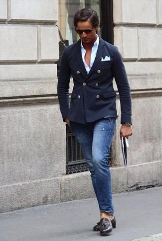 Comment porter  blazer croisé bleu marine, chemise à manches longues  blanche, jean bleu 1f03cc500118