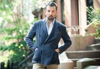 Blazer croise chemise de ville blanc pantalon chino brun clair large 260